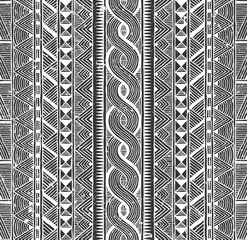Tribal monochrome pattern. Seamless hand-drawn background. EPS10 vector illustration.