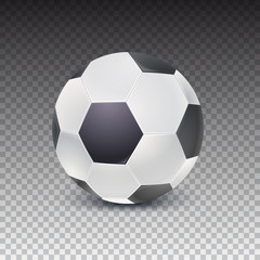 Realistic soccer ball with shadow isolated on transparent background. Detailed icon of ball for game in classic football, 3D illustration