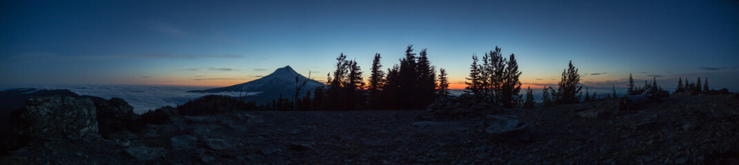 Sunset Panorama of Mt. Hood and Inversion