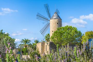 Wall Mural - Medieval windmill in Palma Mallorca, Balearic island, Spain