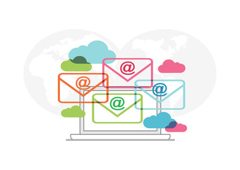 Abstract concept of email communication. Email icon or symbol. Email marketing.