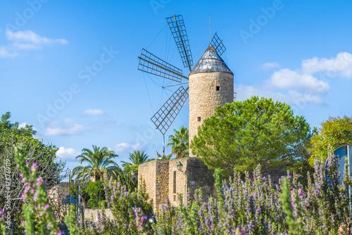 Wall mural Medieval windmill in Palma Mallorca, Balearic island, Spain