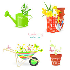 fresh collection of spring bouquets and gardening equipments for