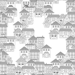 seamless texture with cute houses for coloring book