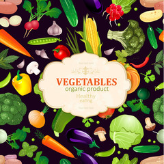 template card with pattern of fresh vegetables for your design