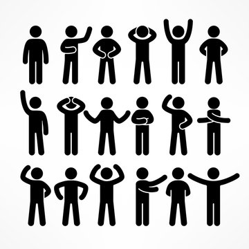 Collection of stick figures with different poses, human icon