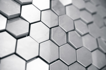Silver abstract hexagonal background with depth of field effect. Structure of a large number of hexagons. Steel honeycomb wall texture, shiny hexagon clusters background, 3D rendering