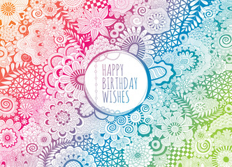 Happy Birthday Wishes doodle vector lineart.