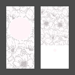 Vector poppy flowers vertical round frame pattern invitation greeting cards set for wedding, marriage, bridal, birthday, Valentine's day. Romantic vector illustration.