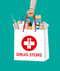 Shopping bag with medical pills and bottles