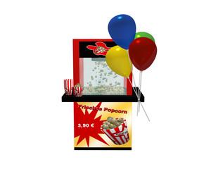 """Popcornmaschine mit deutschem Text """"frisches Popcorn"""" und Luftballons auf weiß isoliert"""