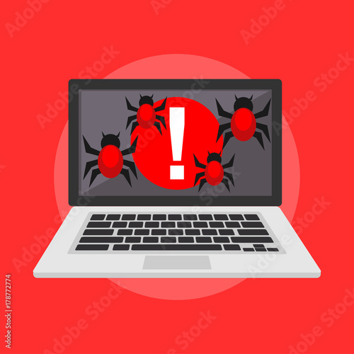 Harmful Virus Bug  System error caused by virus attack  Cyber attack