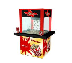 """Popcornmaschine mit deutschem Text """"frisches Popcorn"""" auf weiß isoliert aus seitlicher Ansicht"""