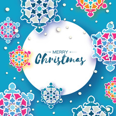 Fond de hotte en verre imprimé Hibou Colorful Origami Christmas Greetings card. Snowfall. Paper cut snow flake. Happy New Year invitation. Winter snowflakes background. Circle frame. Space for text. Blue. Holidays. Vector