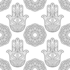 Hand of Fatima with Mandala Seamless Pattern