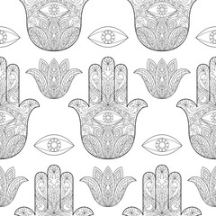 Hand of Fatima Seamless Pattern