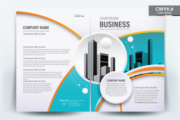 Brochure Cover Layout with Blue and Orange Geometric , A4 Size Vector Template