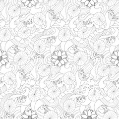Lotus and fishes seamless pattern
