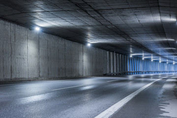Highway tunnel. Interior of an urban tunnel without traffic. .