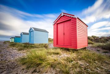 Beach huts at Findhorn beach, Moray coast, Scotland