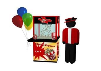 """Popcornmaschine mit deutschem Text """"frisches Popcorn"""", Luftballons  und einem Verkäufer"""