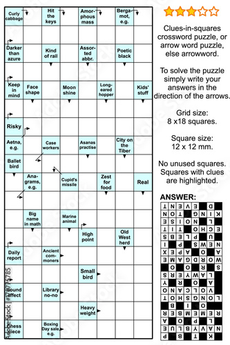 clues in squares crossword puzzle or arrow word puzzle else arrowword