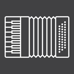 Accordion line icon, music and instrument, sound sign vector graphics, a linear pattern on a black background, eps 10.