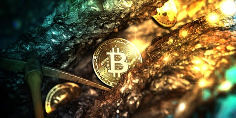 Golden bitcoin mining in deep golden cave with Pickaxe and some coin. - 3d illustration.