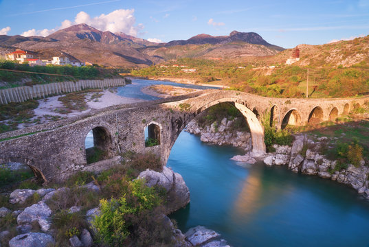 The Old Mes Bridge in Shkoder, Albania