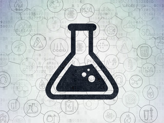 Science concept: Painted black Flask icon on Digital Data Paper background with Scheme Of Hand Drawn Science Icons