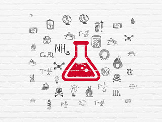 Science concept: Painted red Flask icon on White Brick wall background with  Hand Drawn Science Icons