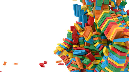 Exploding toy bricks, original 3d rendering