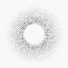 Halftone dotted circular pattern geometric background. Vector seamless abstract white black dot circle halftone minimal gradient. Simple trendy graphic texture for technology tile texture design