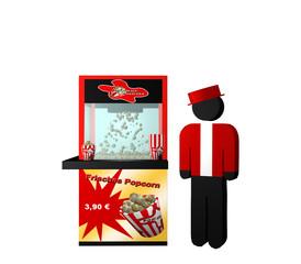 """Popcornmaschine mit deutschem Text """"frisches Popcorn"""" und einem Popcorn Verkäufer auf weiß isoliert"""
