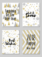 Greeting New Year cards, Let it snow and other text vector templates set. Holiday postcards, banners design collection. Greetings to the start of year, wishes of snow, modern new design cards set.