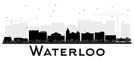 Waterloo Iowa City skyline black and white silhouette.