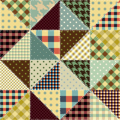 Seamless background pattern. Imitation of a retro patchwork.