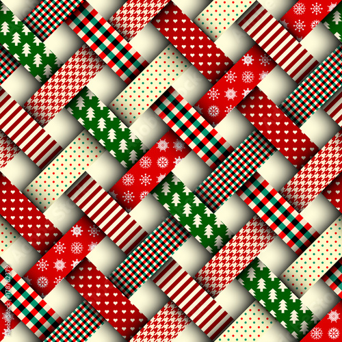 Seamless Christmas Background In Patchwork Style Interweaving Cool Christmas Patterns