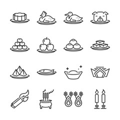 Chinese Ancestor Worship line icon set. Included the icons as Joss paper, candles, incense burner, food, dessert, fruits and more.