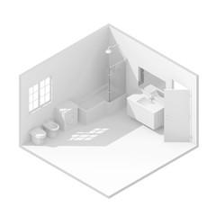 3d isometric rendering of bathroom