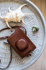 Vintage camera in old brown case