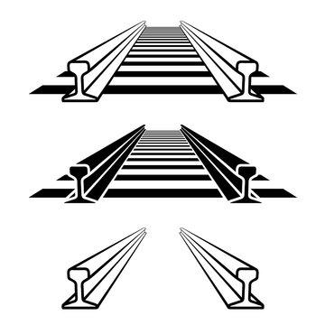 steel train rail track profile symbol vector