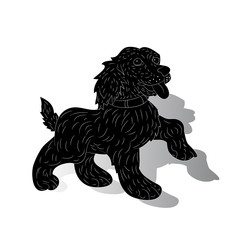 Dog-symbol of the year, silhouette, cartoon (ornate) on white background,