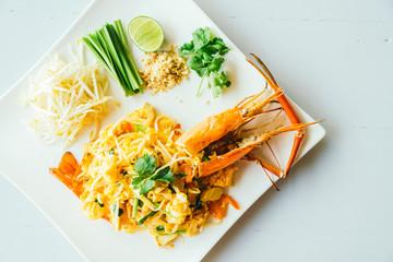 Pad thai noodles with jumbo prawn