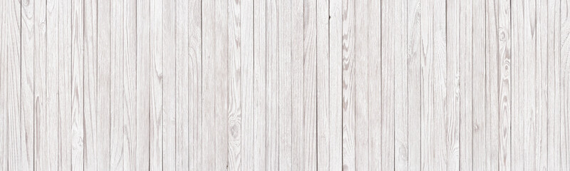 Panoramic background of white wooden texture, light planks as wallpaper