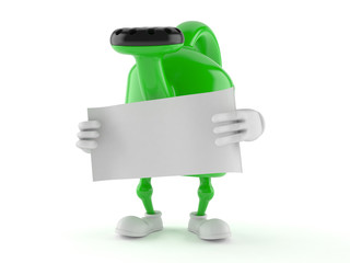 Watering can character with blank sheet of paper