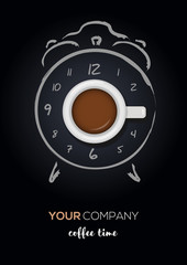 Coffee time, coffee break concept. Realistic cup of coffee with hand drawn alarm clock. Vector illustration
