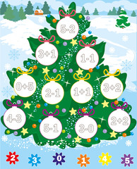 new year tree. christmas game. count and color. simple level. on winter background. cartoon vector. editable layers