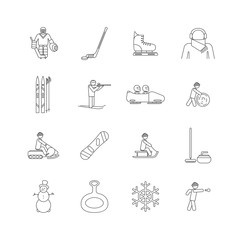 Winter game and sport set of icon.