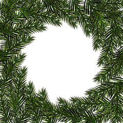 New Year Christmas. Green branch fir in a circle on a white background. Isolated Illustration